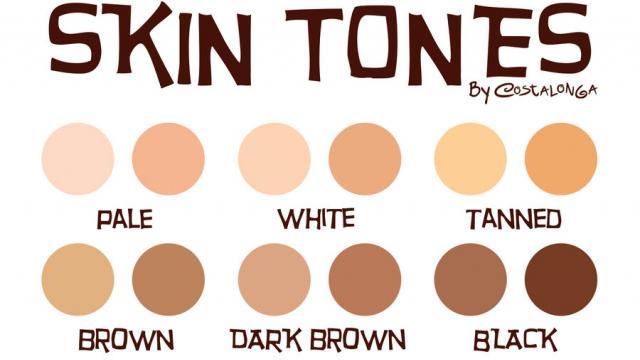 رنگ های پوست بدن