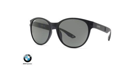 عینک آفتابی پلاریزه ب ام و فریم گرد کائوچویی و عدسی دودی پلاریزه - عکس از زاویه سه رخ