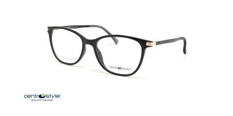 عینک طبی رویه دار سنترو استایل رنگ مشکی با رویه آفتابی قهوه ای - عکس زاویه سه رخ