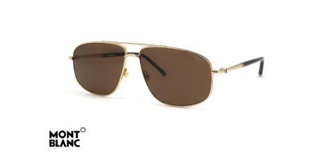 عینک آفتابی خلبانی مون بلان - فریم طلایی - عدسی قهوه ای - عکس زاویه سه رخ
