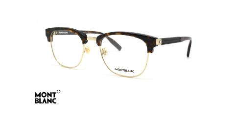 عینک طبی کلاب مستر مون بلان - رنگ قهوه ای هاوانا و طلایی - عکس زاویه سه رخ