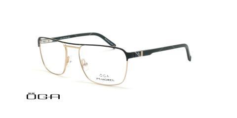 عینک طبی مربعی  اگا - OGA 10107O - مشکی طلایی - عکاسی وحدت - زاویه سه رخ