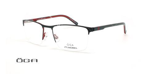 عینک طبی زیرگریف  اگا - OGA 10110O - مشکی قرمز - عکاسی وحدت - زاویه سه رخ