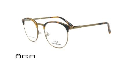 عینک طبی گرد  اگا - OGA 10118O - بژ - عکاسی وحدت - زاویه سه رخ