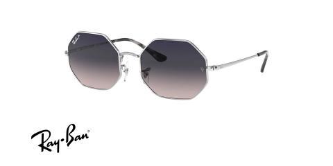 عینک آفتابی پلاریزه چند ضلعی ریبن رنگ فریم نقره ای و عدسی توسی بنفش - عکس زاویه سه رخ