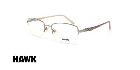 عینک طبی زیرگریف هاوک - HAWK HW6982 - رنگ فریم نقره ای- عکاسی وحدت - عکس زاویه سه رخ