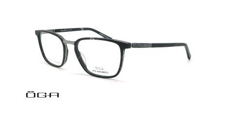 عینک طبی مستطیلی اگا - OGA 10077O - مشکی - عکاسی وحدت - زاویه سه رخ