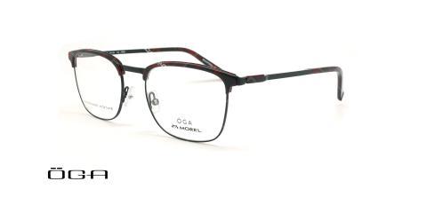 عینک طبی مربعی اوگا - OGA 10120O - مشکی -مشکی قرمز - عکاسی وحدت - زاویه سه رخ