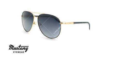 عینک آفتابی خلبانی پلاریزه موستانگ - MUSTANG POLARIZED MU1741 - طلایی مشکی - عکاسی وحدت - زاویه سه رخ