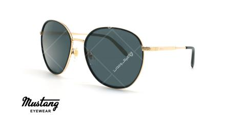عینک آفتابی گرد موستانگ - MUSTANG MU1781 - مشکی طلایی - عکاسی وحدت - زاویه سه رخ