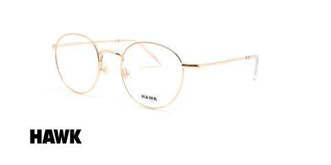 عینک طبی گرد هاوک - HAWK HW7145 - طلایی - عکاسی وحدت - زاویه سه رخ