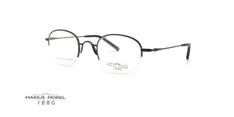عینک طبی زیر گریف ماریوس مورل فریم فلزی مشکی و گرد - عکس از زاویه سه رخ