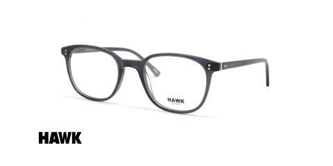 عینک طبی کائوچویی مشکی مربعی هاوک - عکس از زاویه سه رخ