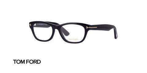 عینک طبی کائوچویی تام فورد فریم مستطیلی مشکی - عکس از زاویه سه رخ