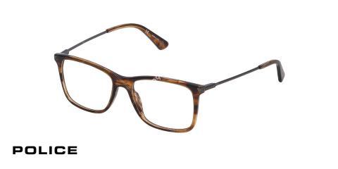 عینک طبی پلیس - POLICE VPL563- رنگ فریم قهوه ای هاوانا- اپتیک وحدت - عکس از سه رخ
