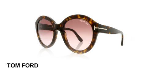 عینک گرد کائوچویی زنانه  تام فورد - TOMFORD TF611- رنگ فریم قهوه ای هاوانا - اپتیک وحدت - عکس زاویه سه رخ