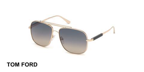 عینک دوپل تام فورد - TOMFORD TF669- عینک دو پل طلایی- اپتیک وحدت- عکس زاویه سه رخ