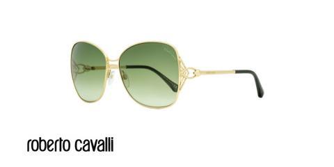 عینک آفتابی پروانه ای زنانه روبرتو کاوالی -  ROBERTO CAVALLI RC1060- رنگ طلایی و عدسی سبز -اپتیک وحدت - عکس زاویه سه رخ