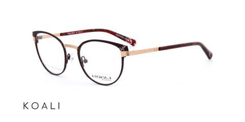 عینک طبی گربه ای کوالی - KOALI 20030K- رنگ زرشکی و صورتی - اپتیک وحدت- عکس زاویه سه  رخ