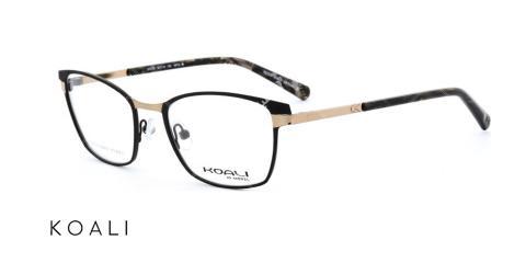 عینک طبی گربه ای کوالی - KOALI 20033K - رنگ مشکی وطلایی- اپتیک وحدت -زاویه سه رخ