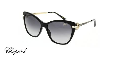 عینک آفتابی گربه ای کائوچویی شوپارد -  CHOPARD 232S - رنگ فریم مشکی - اپتیک وحدت - عکس زاویه سه رخ