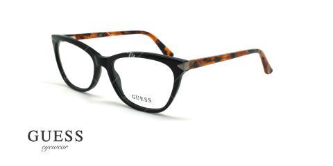عینک طبی گربه ای گس - GUESS GU2668 - مشکی قهوه ای هاوانا - عکاسی وحدت - زاویه سه رخ