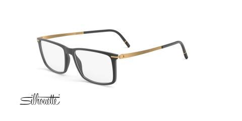 عینک طبی مستطیلی سیلوئت -2921 Silhouette SPX -مشکی طلایی - عکاسی وحدت - زاویه سه رخ