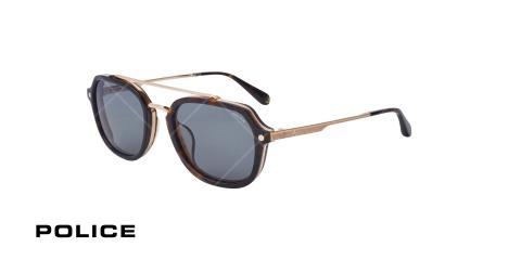عینک آفتابی مربعی پلیس POLICE LEWIS05 SPLA26 - هاوانا تیره طلایی - عکاسی وحدت - زاویه سه رخ