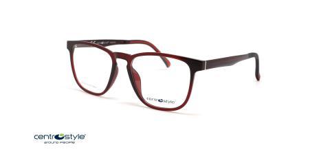 عینک طبی کائوچویی آلبالویی با رویه آفتابی سنترو استایل- عکاسی وحدت - عکس از زاویه سه رخ