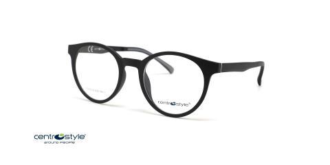 عینک طبی گرد کائوچویی مشکی با رویه آفتابی سنترو استایل- عکاسی وحدت - عکس از زاویه سه رخ