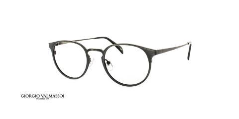 عینک طبی گرد فلزی جورجیو والماسو فریم مشکی - عکس از زاویه سه رخ