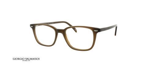 عینک طبی کائوچویی جورجیو والماسو فریم قهوه ای مستطیلی - عکس از زاویه سه رخ