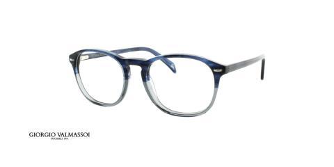 عینک طبی کائوچویی جورجیو والماسو فریم مربعی تنالیته آبی - عکس از زاویه سه رخ