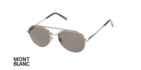 عینک آفتابی گرد دوپل مون بلان - MONTBLANC MB605 - فریم نقره ای و عدسی مشکی - اپتیک وحدت - عکس زاویه سه رخ