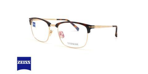 عینک طبی کلاب مستر زایس - بدنه قهوه ای هاوانا و فلزی طلایی - عکاسی عینک وحدت - زاویه سه رخ