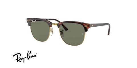 عینک افتابی کلاب مستر کلاسیک پلاریزه ری بن فریم قرمز هاوانا و عدسی سبز- عکس از زاویه سه رخ