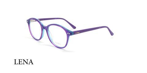 عینک طبی گرد لنا - LENA LE329 - بنفش - عکاسی وحدت - زاویه سه رخ