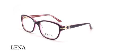 عینک طبی مستطیلی لنا - LENA LE358 - مشکی صورتی - عکاسی وحدت - زاویه سه رخ