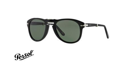 عینک آفتابی تاشو پرسول - رنگ مشکی - عدسی سبز - زاویه سه رخ