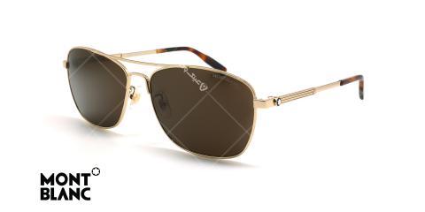 عینک آفتابی خلبانی مون بلان - MONTBLANC MB0026S- شامپاینی - عکاسی وحدت - زاویه سه رخ