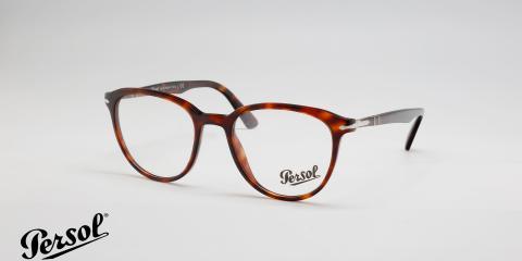 عینک طبی پرسول بیضی شکل - قهوه ای هاوانا - زاویه سه رخ