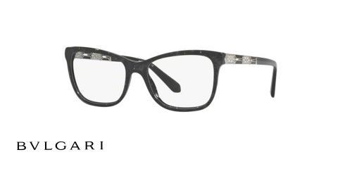 عینک طبی مستطیلی شکل مشکی رنگ بولگاری - زاویه سه رخ