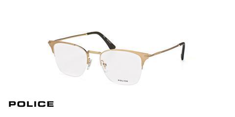 عینک طبی زیرگریف پلیس - رنگ طلایی - اپتیک وحدت - عکس از زاویه سه رخ