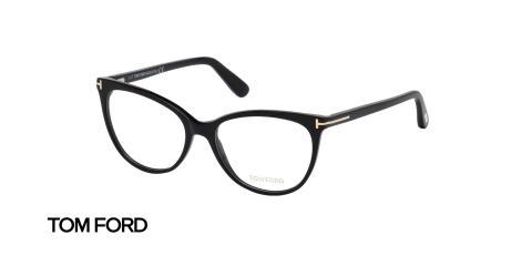 عینک طبی کائوچویی زنانه تام فورد فریم گربه ای مشکی - عکس از زاویه سه رخ