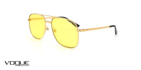 عینک آفتابی دوپل وگ - VOGUE VO4083S - فریم طلایی وشیشه زرد - عکاسی وحدت - عکس زاویه سه رخ