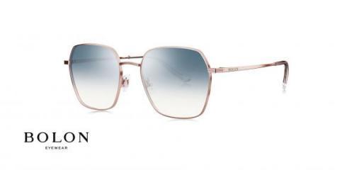 عینک آفتابی چند ضلعی بولون - BOLON BL7087 - رنگ طلایی  عدسی ابی - اپتیک وحدت - عکس زاویه سه رخ