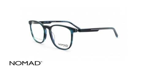 عینک طبی نوماد - کائوچویی طوسی آبی - زاویه سه رخ