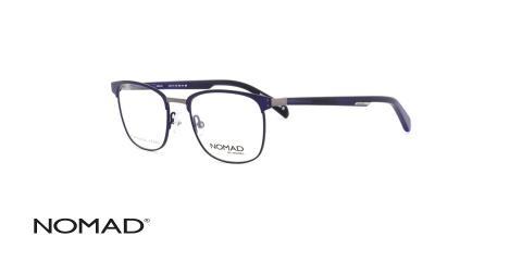 عینک طبی فلزی کائوچویی نوماد - بدنه آبی قسمت فلزی نوک مدادی - زاویه سه رخ