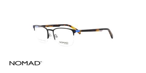 عینک طبی زیر گریف نوماد - دسته کائوچویی قهوه ای - بدنه مشکی فلزی - زاویه سه رخ