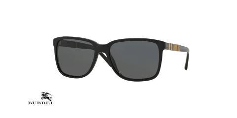 عینک آفتابی مردانه مربعی کائوچویی فریم مشکی عدسی دودی بربری - عکس از زاویه سه رخ